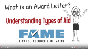 What is an award letter? Understanding types of financial aid. Link to YouTube video