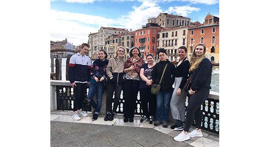 Shown in Venice are Trevor Gough, Emma Rose DiMuzio, Molly Weathers, Fine Arts Professor Virginia Rose, Elizabeth O'Shea, Allina Podgurski, Sadie Hansbury and Margaret Goodson.